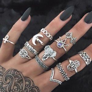 Jewelry - Boho Gypsy Tibetan Silver Moon Hamsa MIDI Rings